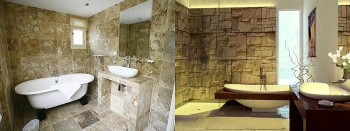 Чем отделать ванную комнату кроме плитки:  камень