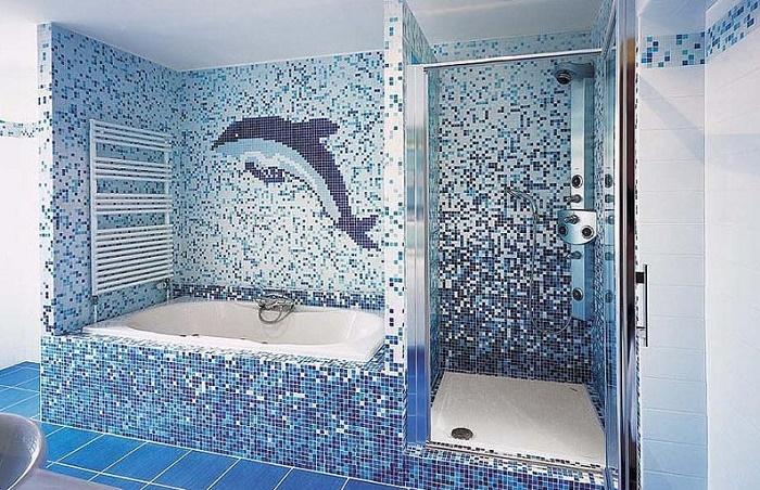 Чем отделать ванную комнату кроме плитки:  мозаика