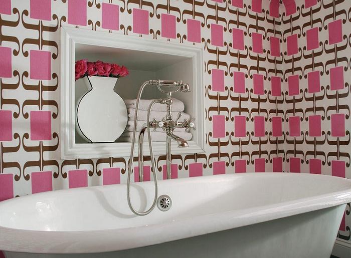 Чем отделать ванную комнату кроме плитки:  обои