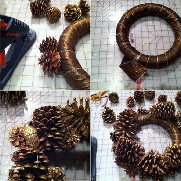 Рождественский веночек из шишек своими руками