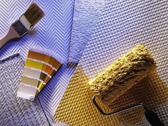 Чем отделать ванную комнату кроме плитки:  стеклообои под покраску